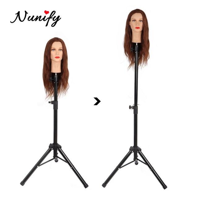 Nunify Parrucca Basamento In Metallo Regolabile Cosmetologia Parrucchiere Formazione Mannequin Testa Treppiede Per scarpe di Tela Blocco Parrucca Testa Del Basamento