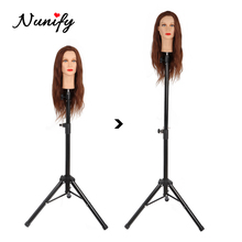 Nunify Wig Stand Metal Adjustable Cosmetology Hairdressing Training Mannequin Head Tripod Stand For Canvas Block Wig Head Stand
