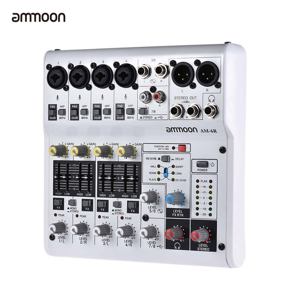 ammoon am 4r 6 channel sound card digital audio mixer mixing console built in 48v phantom power. Black Bedroom Furniture Sets. Home Design Ideas