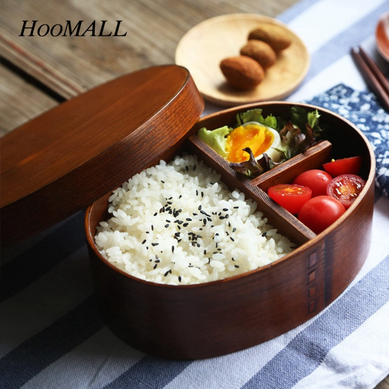 Hoomall 1Pc Japan Style Wooden <font><b>Lunch</b></font> <font><b>Box</b></font> <font><b>Food</b></font> <font><b>Container</b></font> Sushi Bento Portable <font><b>Box</b></font> for Students Kids Outdoor Picnic Tableware image
