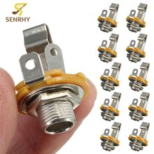 10pcs/set 1/4 inch Metal Guitar Jack Socket Connector Female Panel Mount For Acoustic Electric Bass Guitar Parts & Accessories