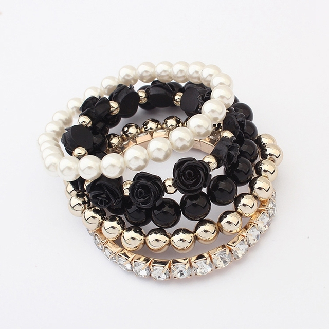 Bracelets Bangles 2015 Trendy Fashion Candy Color Pearl Rose Flower Multilayer Charm bracelets & bangles For Women Jewelry