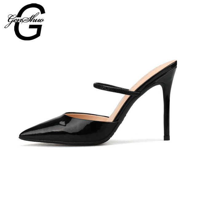 2099528ee94d4 GENSHUO Women Mules High Heels Shoes Sexy Pumps Pointed Toe Pumps Mule  Heeled Black Nude White Small Size 32 Big Size 44 45 46
