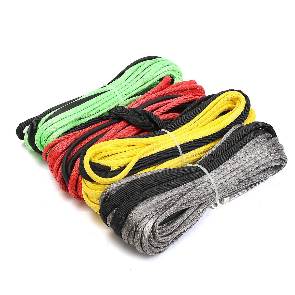 Лучшая цена 3/16 х 50 Синтетический Волокно лебедки кабельной линии веревка 5500 LBS + оболочка для ATV UTV 5.5 мм * 15 м химическое
