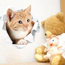 3D Cute Kitten Closestool Sticker Kids Bedroom Wall Deocration Cat Cartoon