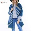 2015 New Arrival Fall Fashio Oversize Thick Striped Beige Poncho Shawl Echarpe Femme Cape Winter Blue Casual Warm Cashmere Shawl