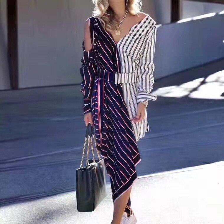 ZIPIPIYF High Quality 2018 Spring Summer runway fashion spliced striped v neck off shoulder sashes asymmetrical