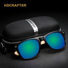 New Bamboo Glasses Legs HDCRAFTER Eyewear Fashion Vintage Polarized Driver Aviator Sunglasses Man CR39 UV400 Brand Designer 5052