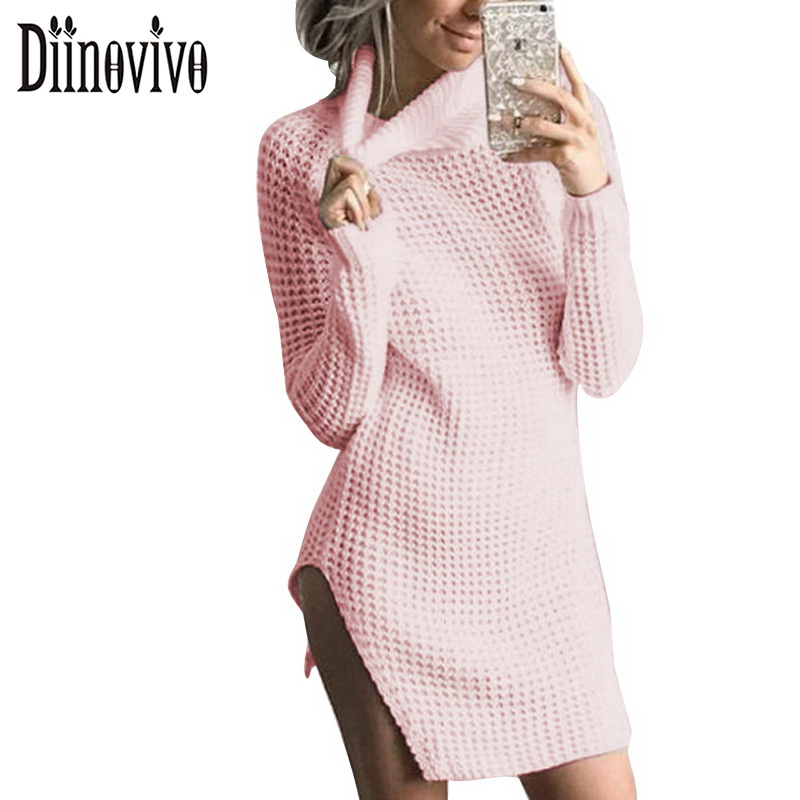 Women High Neck Knitted Dress Sexy Split Long Sleeve Sweater Mini Party Dresses New Casual Jurk Female Bodycon Vestidos SWS026 цена