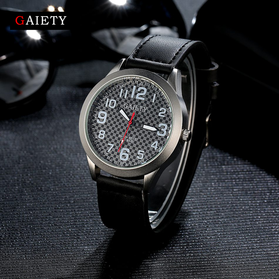 Gaiety Brand Leather Stainless Steel Classic Business Men Watch Wristwatch Casual Fashion Luxury Gift Male Black Sport Watches gaiety new watch women stainless steel case leather band casual fashion female gold watches luxury brand quartz g146