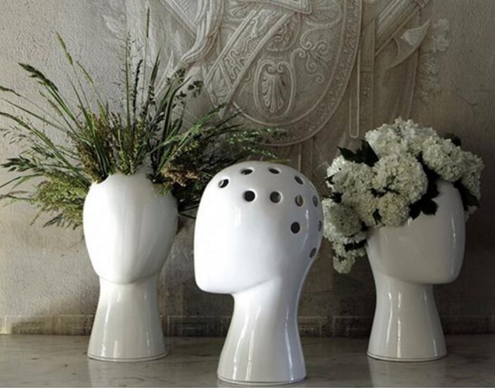الإبداعي رأس الإنسان الأبيض أسود الزخرفية bastract السيراميك زهرية دون نموذج زهرة المنزل غرفة الديكور الحلي-في التماثيل والمنحوتات من المنزل والحديقة على  مجموعة 3