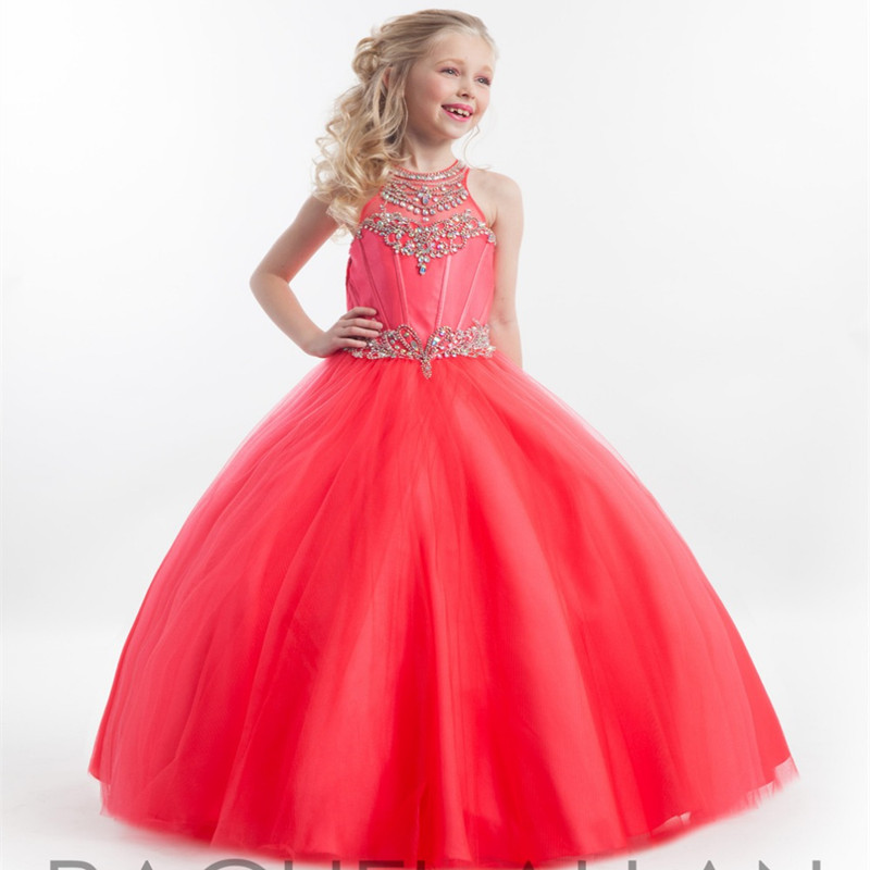 Flower Girl Dresses Children Dresses Crystal Lace Ball Gown Kids Girls Birthday Party Pageant Dresses For Girls