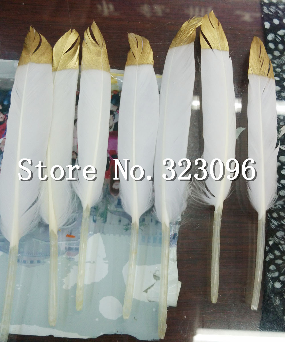 Goose Feather 100pcs Beautiful Gold Painting Goose Feather 4-6 Inches 10-15 cm Wedding, Party ,Home ,Hairs DIY Decoration