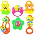 6 Pcs Bebê Brinquedo Chocalho ABS Materiais de Segurança Pode Morder 0-3 Anos de Idade Recém-nascidos do Sexo Feminino Bebê Menino Infantil mordedor Sineta
