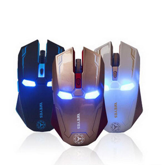 New Iron Man Mouse Wireless Mouse Gaming Mouse gamer Mute Button Silent Click 1200 1600 2400DPI