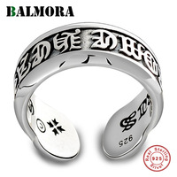 BALMORA 100% Real 925 Sterling Silver Six Words' Mantra Open Rings for Women Men Lovers Gift Thai Silver Punk Jewelry JWR033558