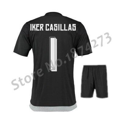 81aa3cb3a Free Shipping 15 16 Goalkeeper soccer jersey kits Iker Casillas NAVAS  PACHECO football shirt Ronaldo Black Green uniforms set-in Soccer Sets from  Sports ...