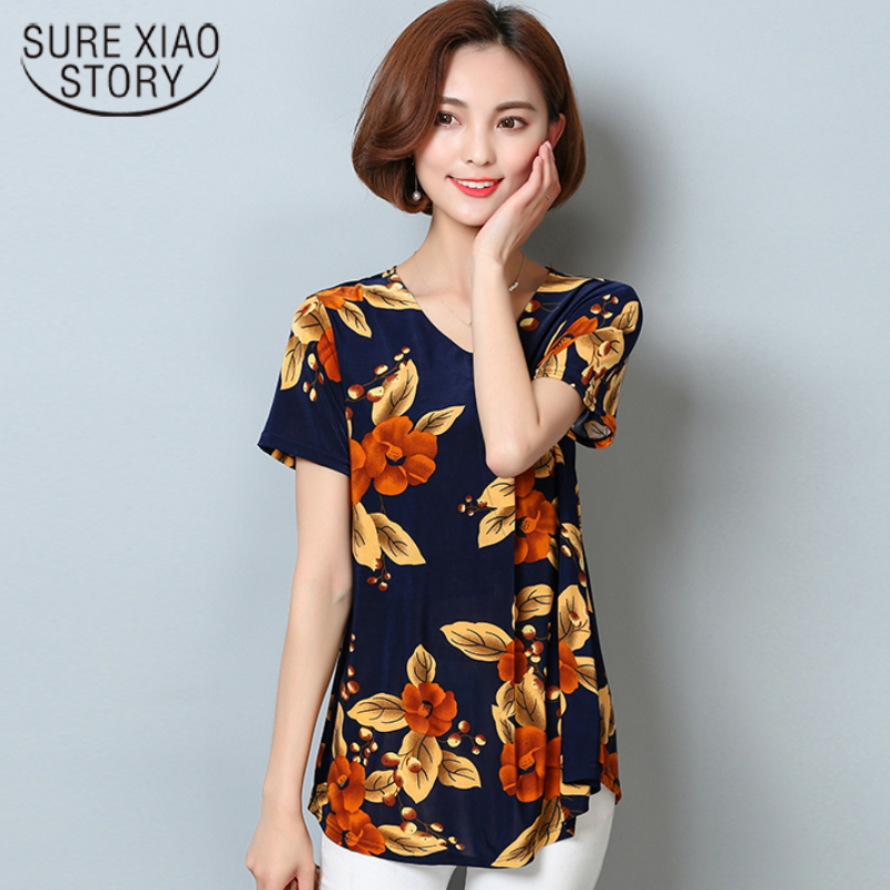 2017 summer new fashion women bloue mercerized cotton short-sleeved casual loose plus size printing flower shirt tops 83A 30 ...