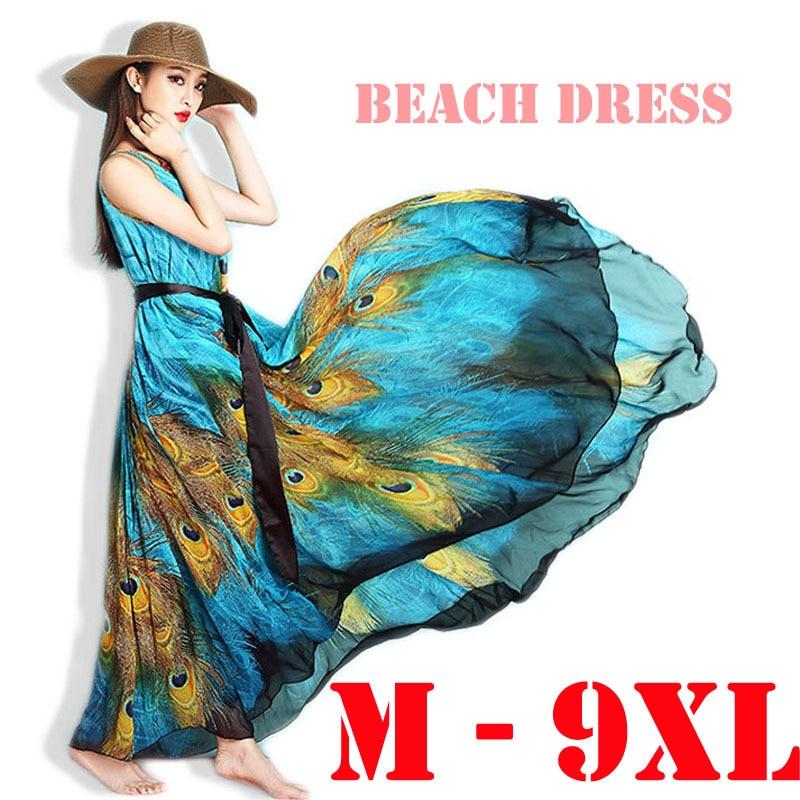 c1b5400c61a5e79 Плюс Размеры 6xl 9XL Летний стиль Для женщин синий павлин Перо с принтом  длинные шифоновые платья в богемном стиле Boho пляж Макси платья Сарафан