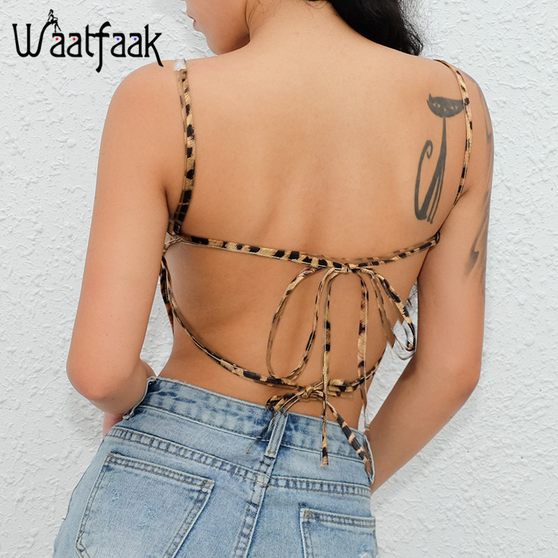 Image 3 - Waatfaak Leopard Crop Top Straps Camisole Satin Sexy Backless Bandage Boob Tank Top Fashion Slash Neck 2018 Croptop Femme 2018-in Camis from Women's Clothing