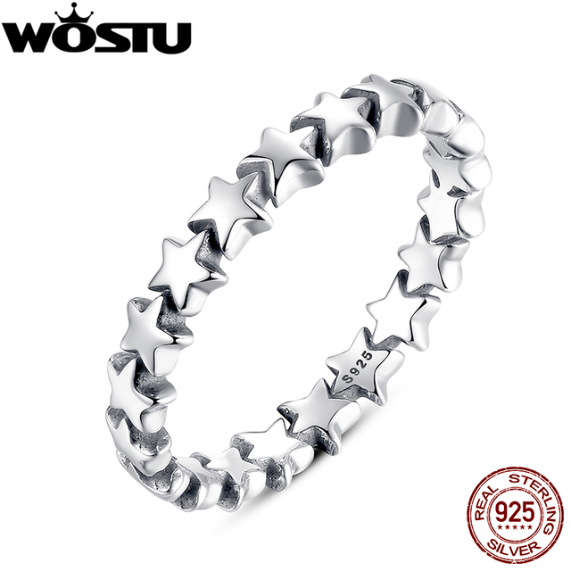 WOSTU 100% Authentic 925 Sterling Silver 6 Style Stackable Party Stars Rings For
