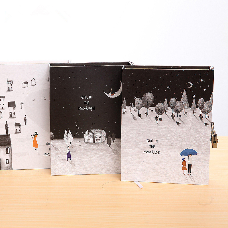 Moon Girl Big Hard Cover Notebook Cute Functional Dairy Journal Blank Colored Papers Lock Box Gift Package moon flac jeans