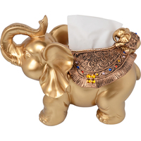 European style high end Resin tissue boxs hotel napkin tray living room Storage box cute elephant lucky craft ornaments
