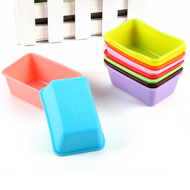 Set Of 10 Silicone Cake Mold Rectangular Muffin Cup