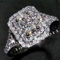 Victoria Wieck completa Topaz dois row simulado diamante 10KT White Gold Filled mulheres Wedding Band anel de noivado Sz 5 - 11 presente