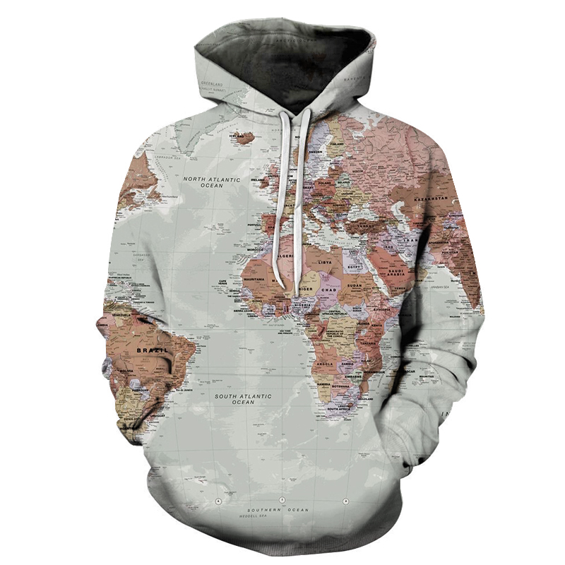 World Map Hoodie Men Print Sweatshirt Hooded 3d Anime Map Hoodies Vintage Pattern Hip Hop Mens Clothing Streetwear Autumn Style