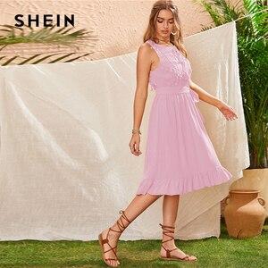 Image 5 - SHEIN Geel Lace Panel Ruche Zoom Belted Zomer Boho Midi Vrouwen Jurk Mouwloze Hoge Taille Dames Fringe Fit en Flare jurken