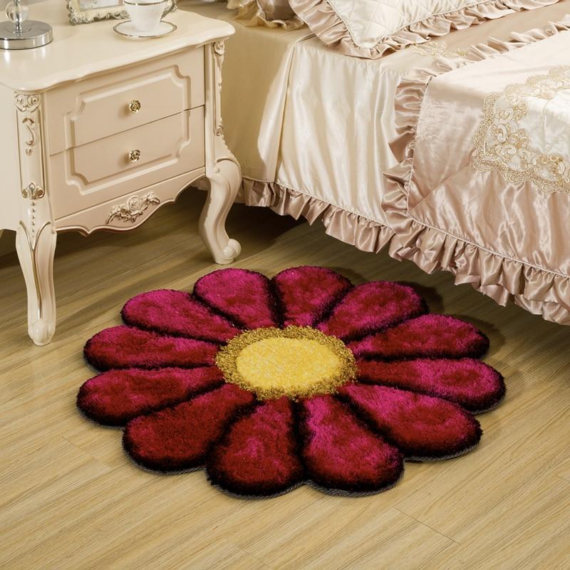 LIU wedding 3D rose round acrylic thick sunflower carpet 90cm cloakroom bedroom rug livingroom pad computer chair door tapetes