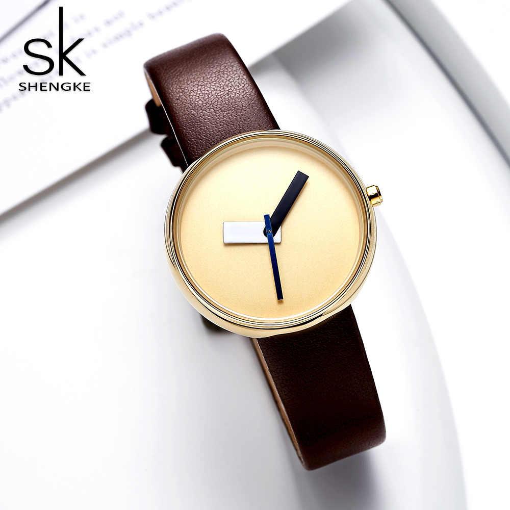 Shengke Top Brand Luxury Women Simple Wrist Watch Brown Leather Watch Women Causal Style Fashion Design Watches Female
