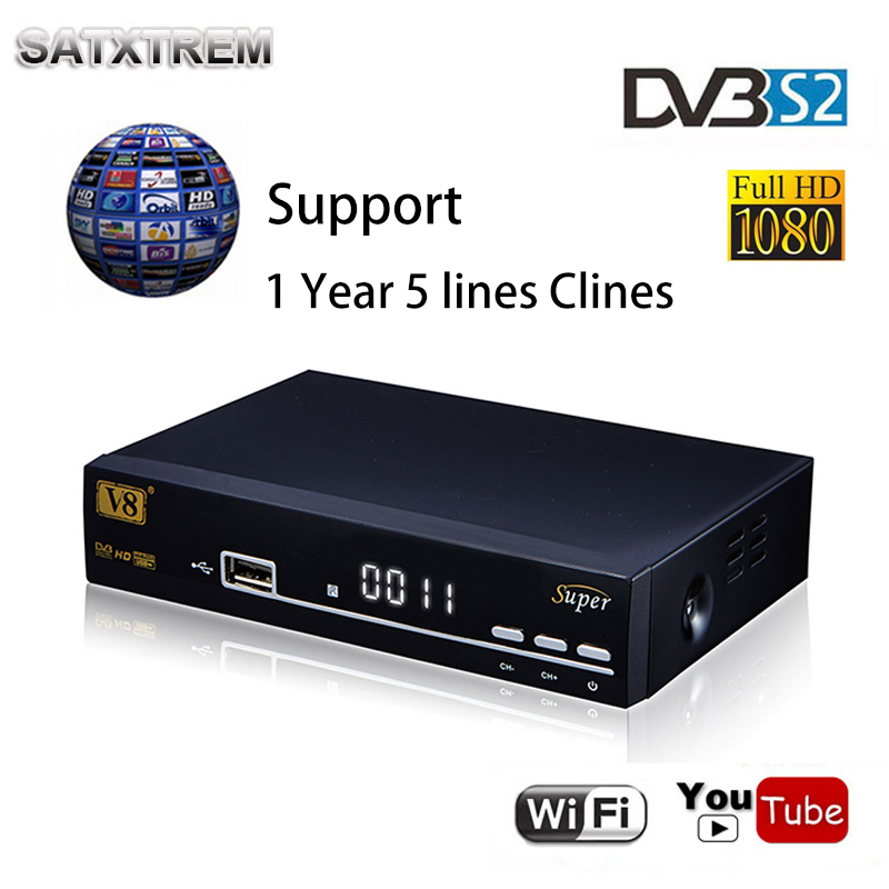 Freesat V8 super DVB-S2 receptor Satellite Receiver Decoder Support 1080P Full HD powervu bisskey + USB WIFI support 5 clines