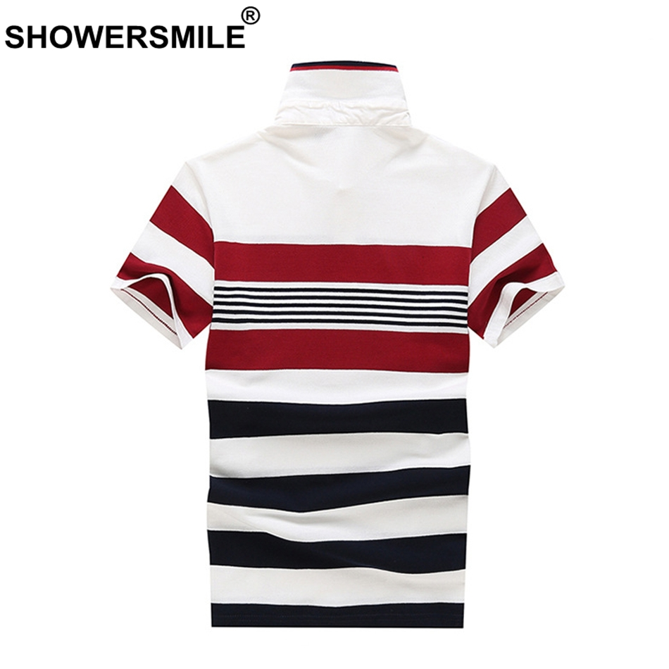 SHOWERSMILE Striped Polo Shirt Men Black Red Tees Cotton Business Casual Polo T Regular Fit Summer Tops Male Plus Size Clothing