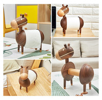 Paper towel rack creative home solid wood kitchen toilet paper roll holder cartoon small wooden crafts jewelry L0423