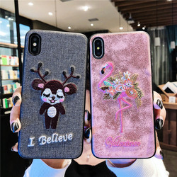 Sewing SFor Case iPhone XS case Max XR case x embroidery case For iPhone 8 7 Plus Lovely animal Cloth Coque For iPhone 6 6S Dog 3