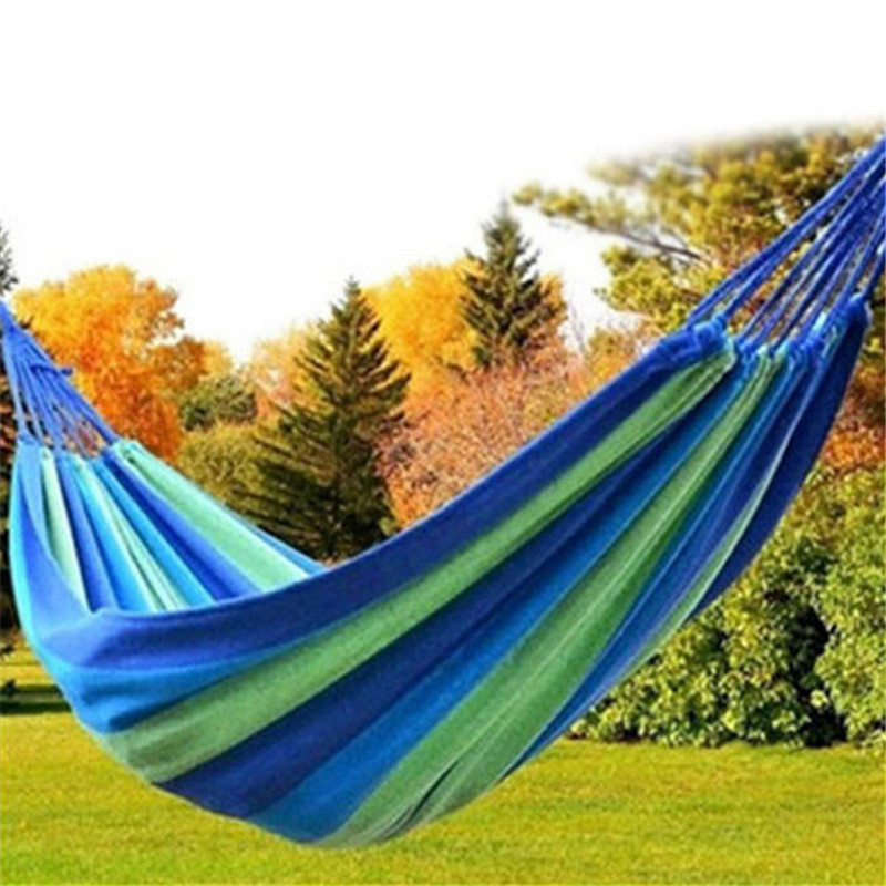 Portable Hammock Striped Rainbow Forest Park Garden Travelling Rest Hang Bed Camping Swing Canvas Outdoor High Quality 2017 portable nylon garden outdoor camping travel furniture mesh hammock swing sleeping bed nylon hang mesh net