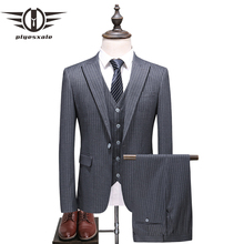 Plyesxale Grey Striped Suit Men Latest Wedding Suits For Slim Fit Mens Business High Quality 3 Piece Formal Wear Q376