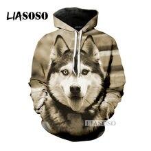 LIASOSO 2019 última moda lindo cachorro Husky con capucha hombres y mujeres  con capucha 3D Color impresión Sudadera con capucha . 18b7eded497