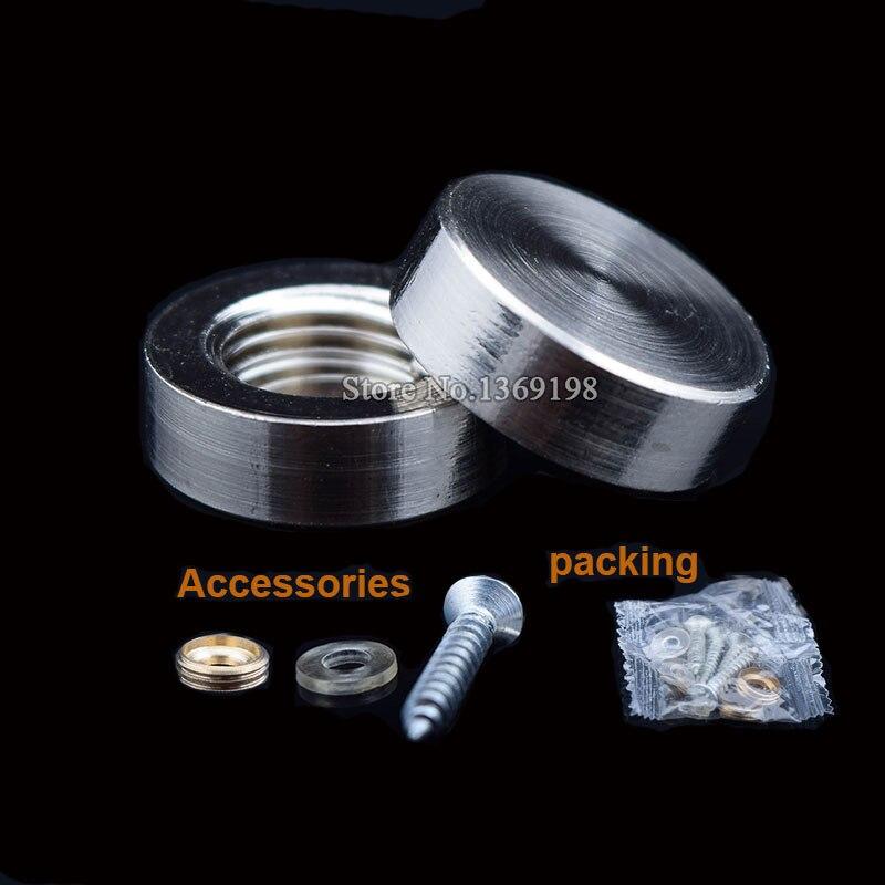 Atacado 500 pcs Cobre Sólido Publicidade Nails 12mm ~ 30mm Cap Decorativo Acrílico Espelho De Vidro de Diâmetro Parafusos Fastener partes