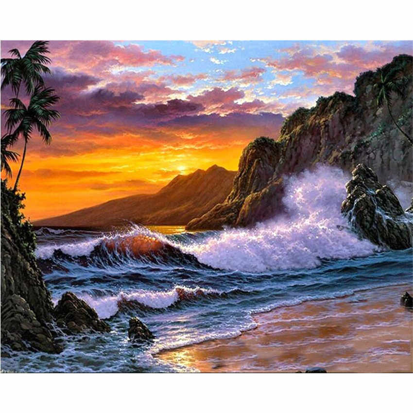 DIY Digital Painting By Numbers Package waves of the sea rock oil painting mural Kits Coloring Wall Art Picture Gift frameless