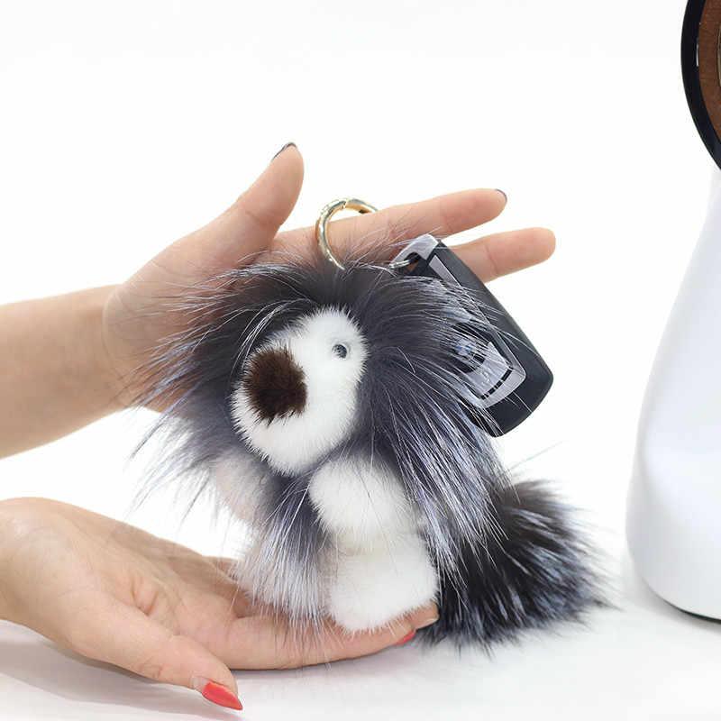 14 cm Fofo Luxo Real Mink chaveiro Leão Genuine Fox Fur Bola Chaveiro Anel De Metal Pingente Charme Saco