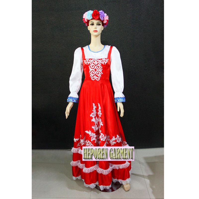 Custom Made Female Russian National Long Dresses,Traditional Performance Stage Dance Wear Retail Wholesale Free Shipping