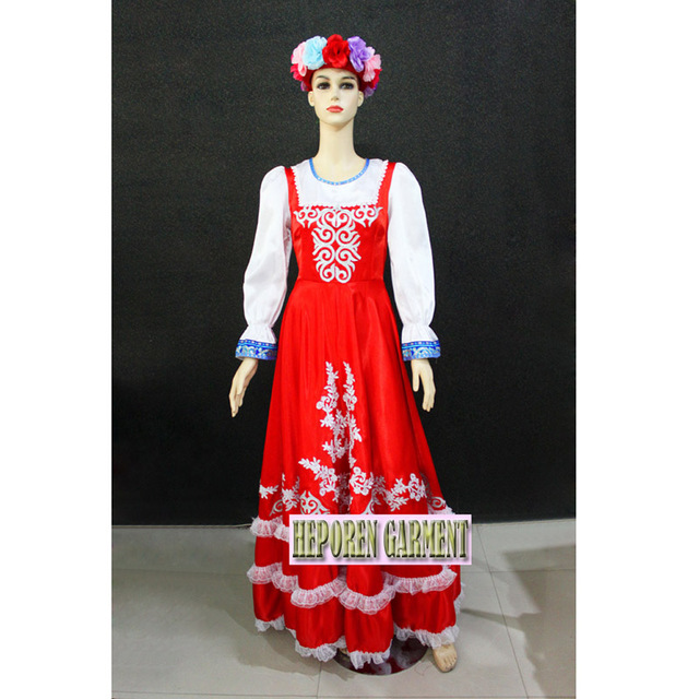 Custom Made Female Russian National Long Dresses Traditional Performance Stage Dance Wear Retail Whole Free