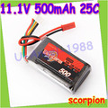 HK Free shipping scorpion 11.1V 500MAH 25C 3s High Power lipo battery RC Model RC helicopter