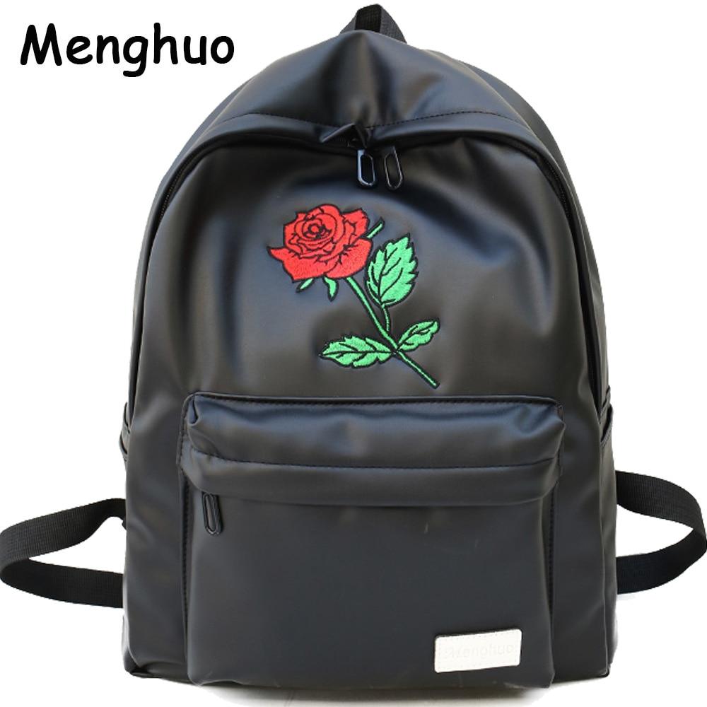 Menghuo Unisex Pu Leder Rucksack Frauen Stickerei Rose Rucksack Liebhaber Männer Leder Rucksack Reisetasche Für Jugendliche Mochila Rucksäcke Herrentaschen