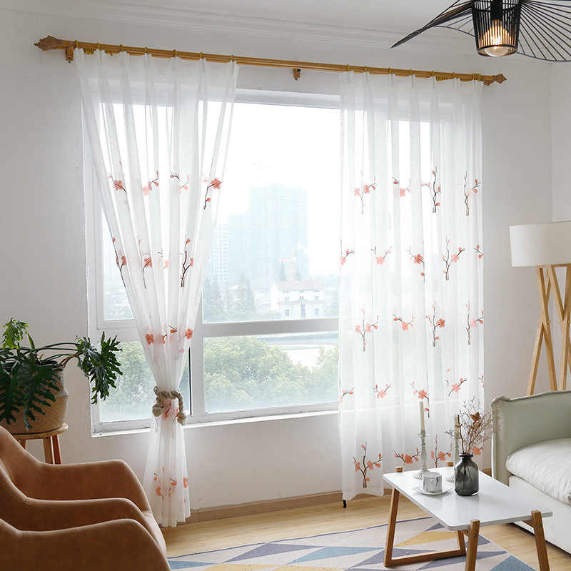 Pastoral Pink Plum Bedroom Sheer Panel Chinese Style Home Garden Window White Embroidery Gauze Curtains For Living Room MY140-40