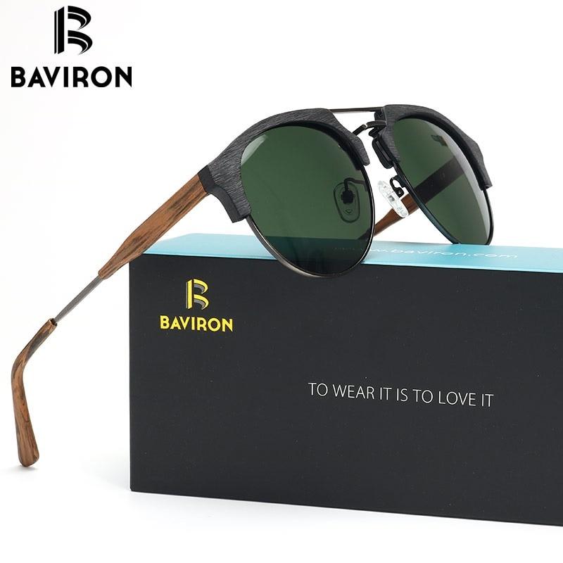 ba04a07d366 BAVIRON Tide Brand Wooden Sunglasses Unisex Retro Trend Sun Glasses Metal  Anti-UV400 Polarized Sunglasses