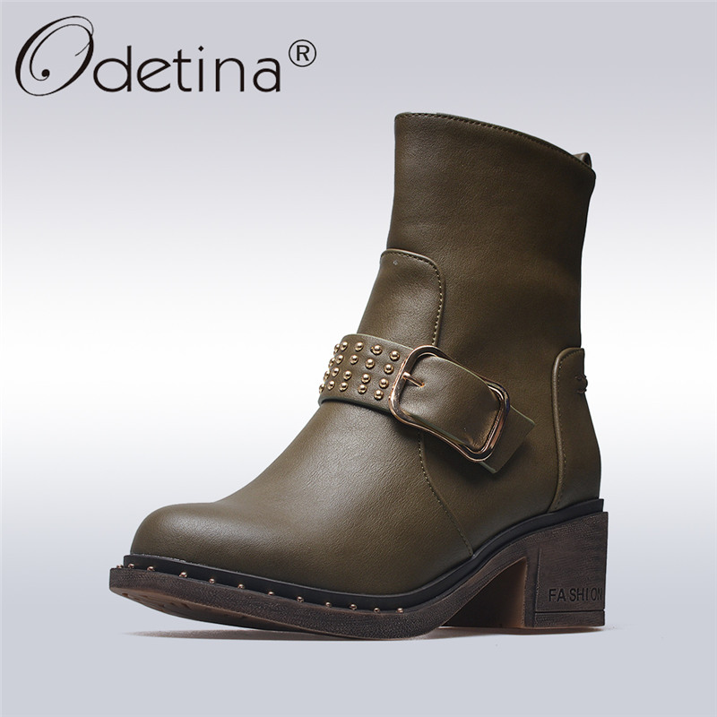 Odetina 2017 Fashion Women Buckle Straps Ankle Boots Side Zipper Round Toe Chunky Heel Short Boots Winter Warm Shoes Big Size 43 woman platform square high heel buckle ankle boots fashion round toe side zipper dress winter boots black brown gray white